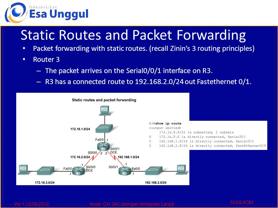 Ver 1,12/09/2012Kode :CIJ 340,Jaringan Komputer Lanjut FASILKOM Static Routes and Packet Forwarding Packet forwarding with static routes.