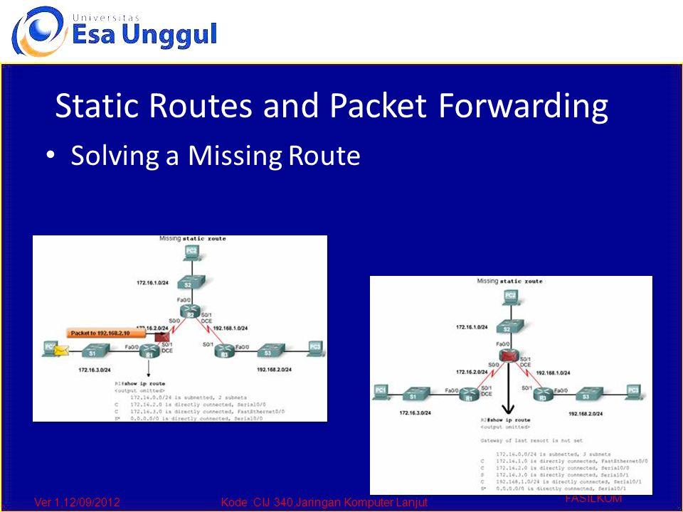Ver 1,12/09/2012Kode :CIJ 340,Jaringan Komputer Lanjut FASILKOM Static Routes and Packet Forwarding Solving a Missing Route