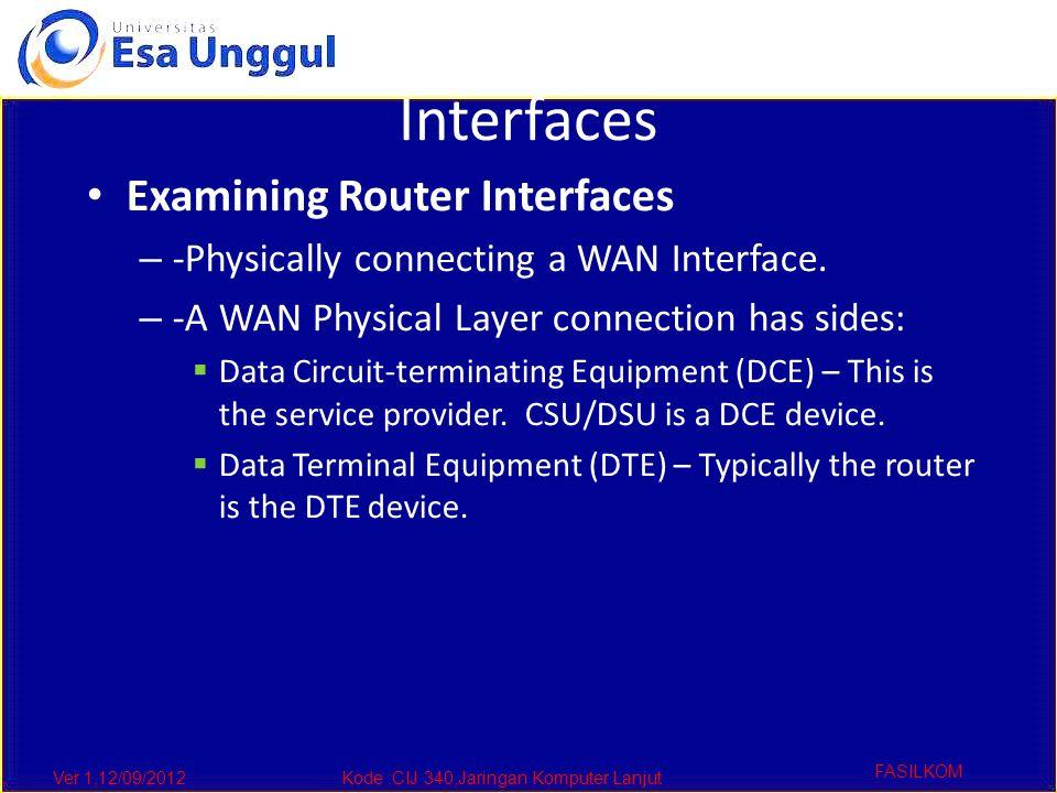 Ver 1,12/09/2012Kode :CIJ 340,Jaringan Komputer Lanjut FASILKOM Interfaces Examining Router Interfaces – -Physically connecting a WAN Interface. – -A