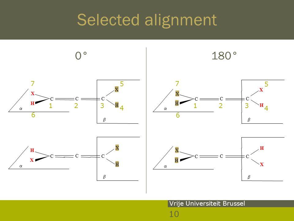 10 Vrije Universiteit Brussel Selected alignment 0° 180° 5 7   H X H X CC C   X H H X C C C 123 4 6 5 7   H X H X CC C   H X X H C C C 123 4 6