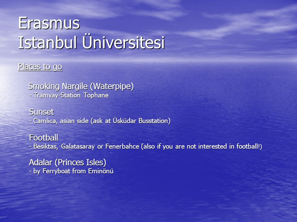 Erasmus Istanbul Üniversitesi If you need some help or information about activities, nightlife etc… Marten Gezici 0534/3485577 m.gezici@web.de