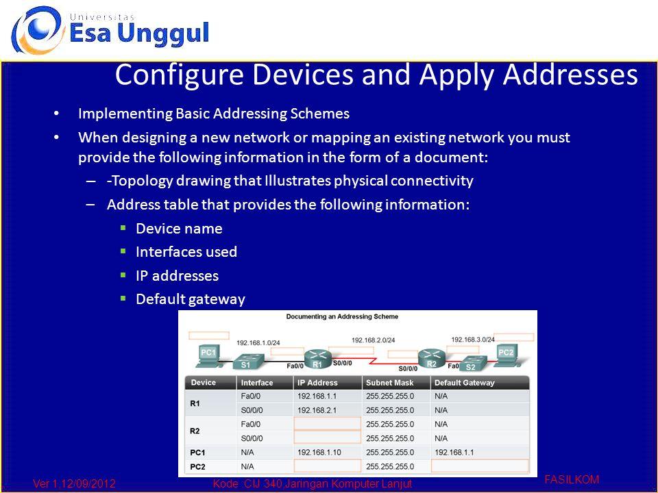 Ver 1,12/09/2012Kode :CIJ 340,Jaringan Komputer Lanjut FASILKOM Configure Devices and Apply Addresses Implementing Basic Addressing Schemes When desig