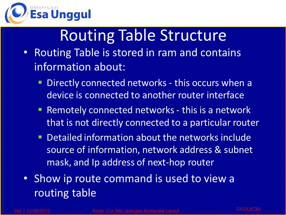 Ver 1,12/09/2012Kode :CIJ 340,Jaringan Komputer Lanjut FASILKOM Routing Table Structure Routing Table is stored in ram and contains information about:  Directly connected networks - this occurs when a device is connected to another router interface  Remotely connected networks - this is a network that is not directly connected to a particular router  Detailed information about the networks include source of information, network address & subnet mask, and Ip address of next-hop router Show ip route command is used to view a routing table