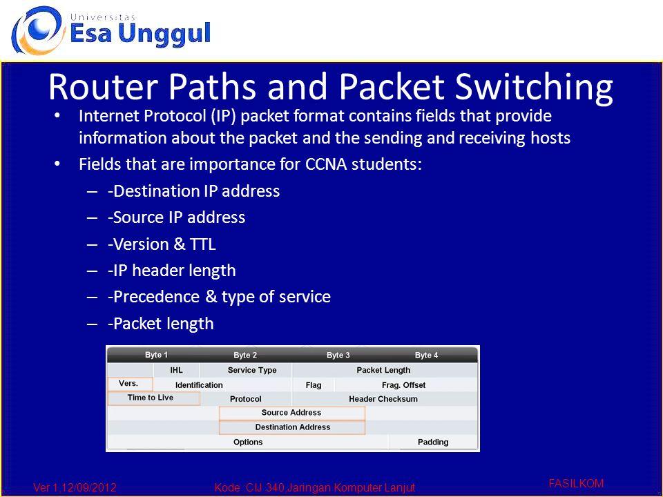 Ver 1,12/09/2012Kode :CIJ 340,Jaringan Komputer Lanjut FASILKOM Router Paths and Packet Switching Internet Protocol (IP) packet format contains fields