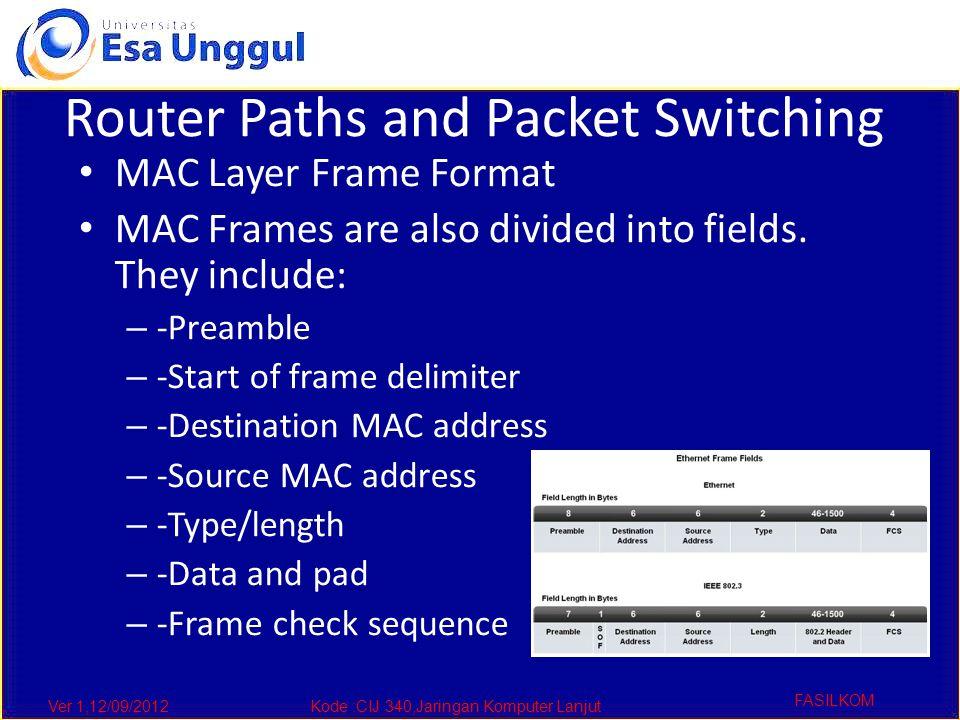 Ver 1,12/09/2012Kode :CIJ 340,Jaringan Komputer Lanjut FASILKOM Router Paths and Packet Switching MAC Layer Frame Format MAC Frames are also divided into fields.