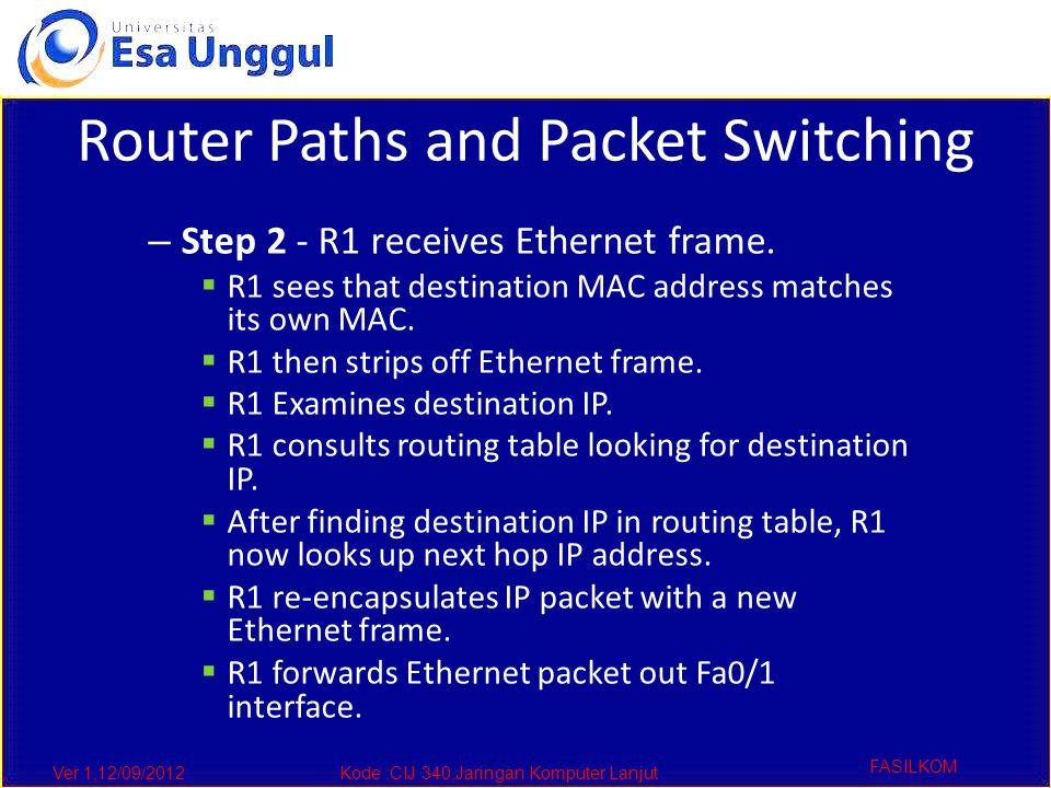 Ver 1,12/09/2012Kode :CIJ 340,Jaringan Komputer Lanjut FASILKOM Router Paths and Packet Switching – Step 2 - R1 receives Ethernet frame.