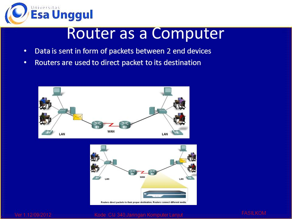 Ver 1,12/09/2012Kode :CIJ 340,Jaringan Komputer Lanjut FASILKOM Router as a Computer Data is sent in form of packets between 2 end devices Routers are used to direct packet to its destination
