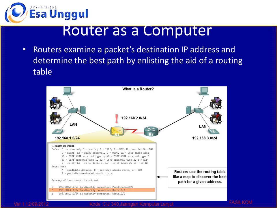 Ver 1,12/09/2012Kode :CIJ 340,Jaringan Komputer Lanjut FASILKOM Router as a Computer Routers examine a packet's destination IP address and determine t