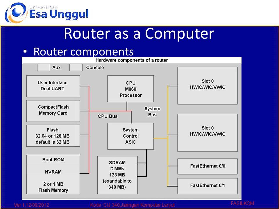 Ver 1,12/09/2012Kode :CIJ 340,Jaringan Komputer Lanjut FASILKOM Router as a Computer Router components