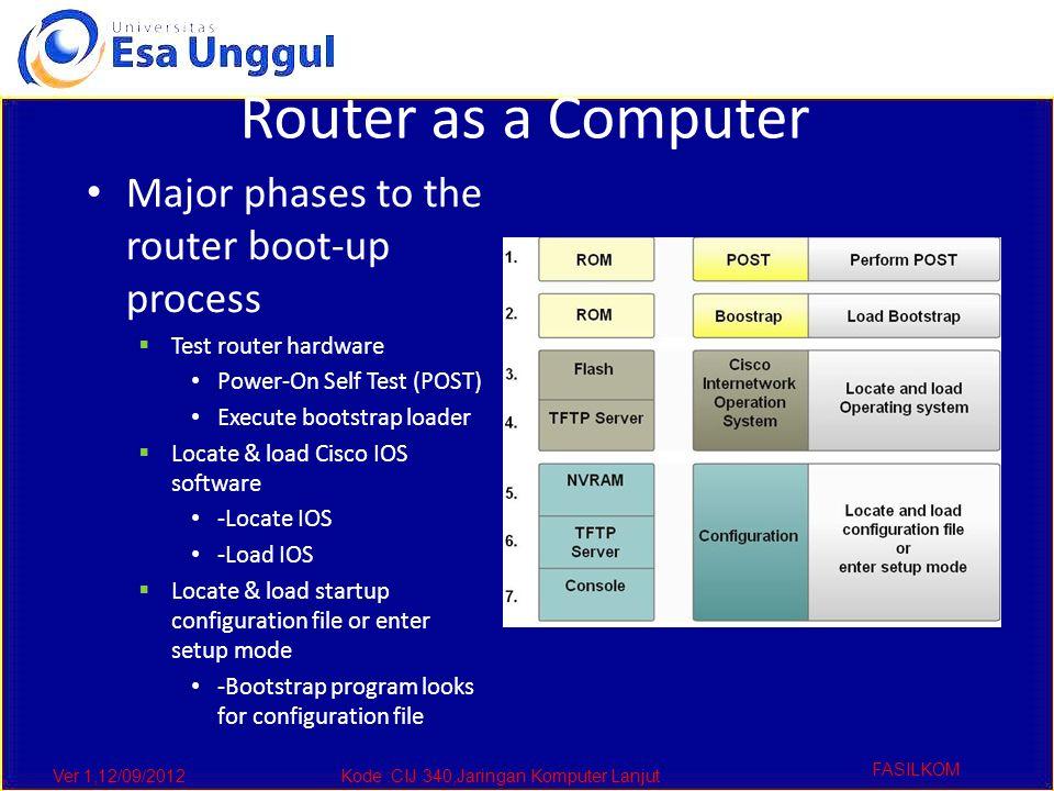 Ver 1,12/09/2012Kode :CIJ 340,Jaringan Komputer Lanjut FASILKOM Router as a Computer Major phases to the router boot-up process  Test router hardware