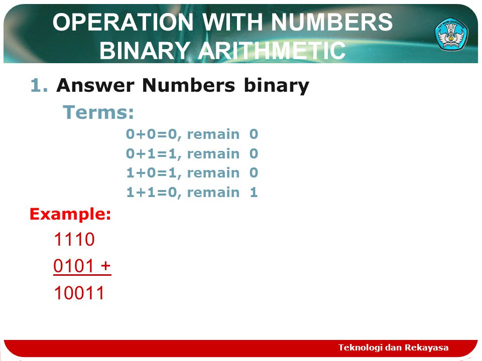 OPERATION WITH NUMBERS BINARY ARITHMETIC 1.Answer Numbers binary Terms: 0+0=0, remain 0 0+1=1, remain 0 1+0=1, remain 0 1+1=0, remain 1 Example: 1110