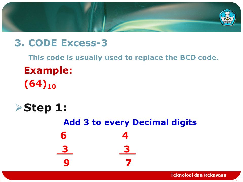 3.CODE Excess-3 This code is usually used to replace the BCD code. Example: (64) 10  Step 1: Add 3 to every Decimal digits 6 4 3 3 9 7 Teknologi dan