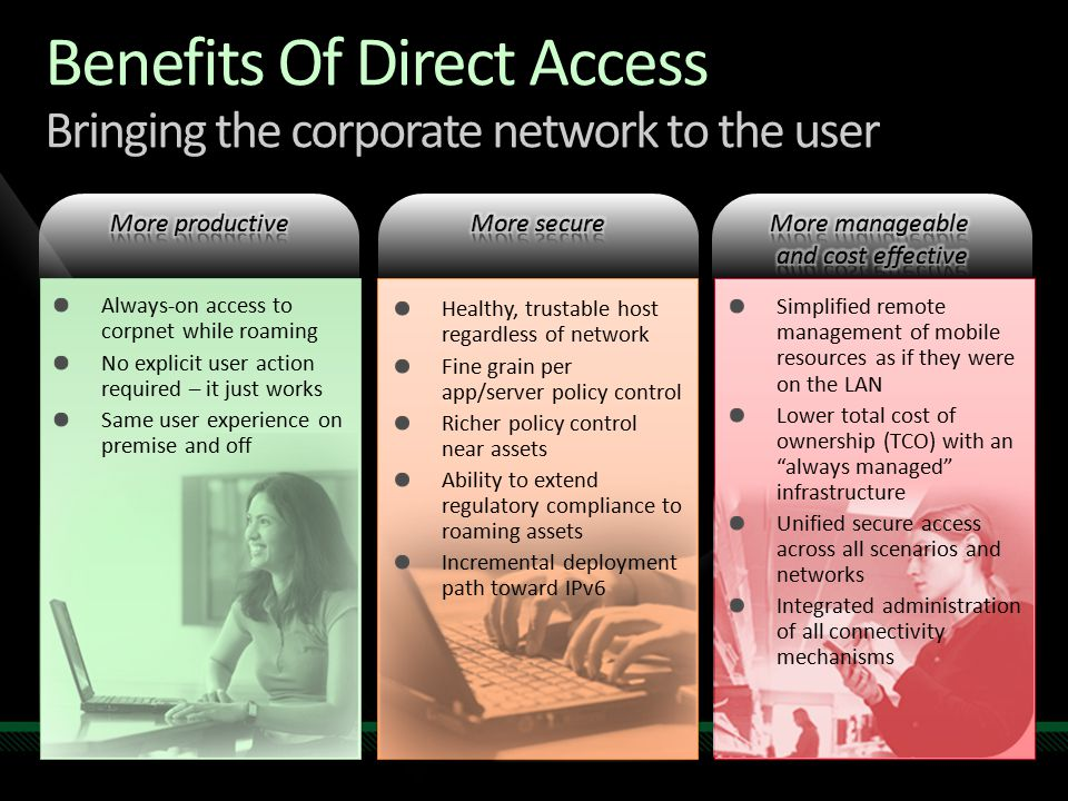 Benefits Of Direct Access Bringing the corporate network to the user Always-on access to corpnet while roaming No explicit user action required – it just works Same user experience on premise and off Simplified remote management of mobile resources as if they were on the LAN Lower total cost of ownership (TCO) with an always managed infrastructure Unified secure access across all scenarios and networks Integrated administration of all connectivity mechanisms Healthy, trustable host regardless of network Fine grain per app/server policy control Richer policy control near assets Ability to extend regulatory compliance to roaming assets Incremental deployment path toward IPv6