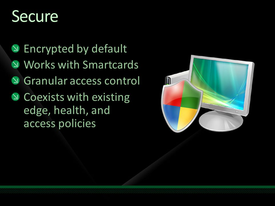 Secure Encrypted by default Works with Smartcards Granular access control Coexists with existing edge, health, and access policies