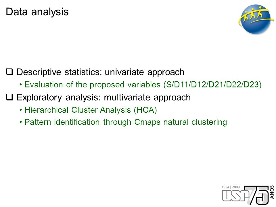 Data analysis  Descriptive statistics: univariate approach Evaluation of the proposed variables (S/D11/D12/D21/D22/D23)  Exploratory analysis: multivariate approach Hierarchical Cluster Analysis (HCA) Pattern identification through Cmaps natural clustering