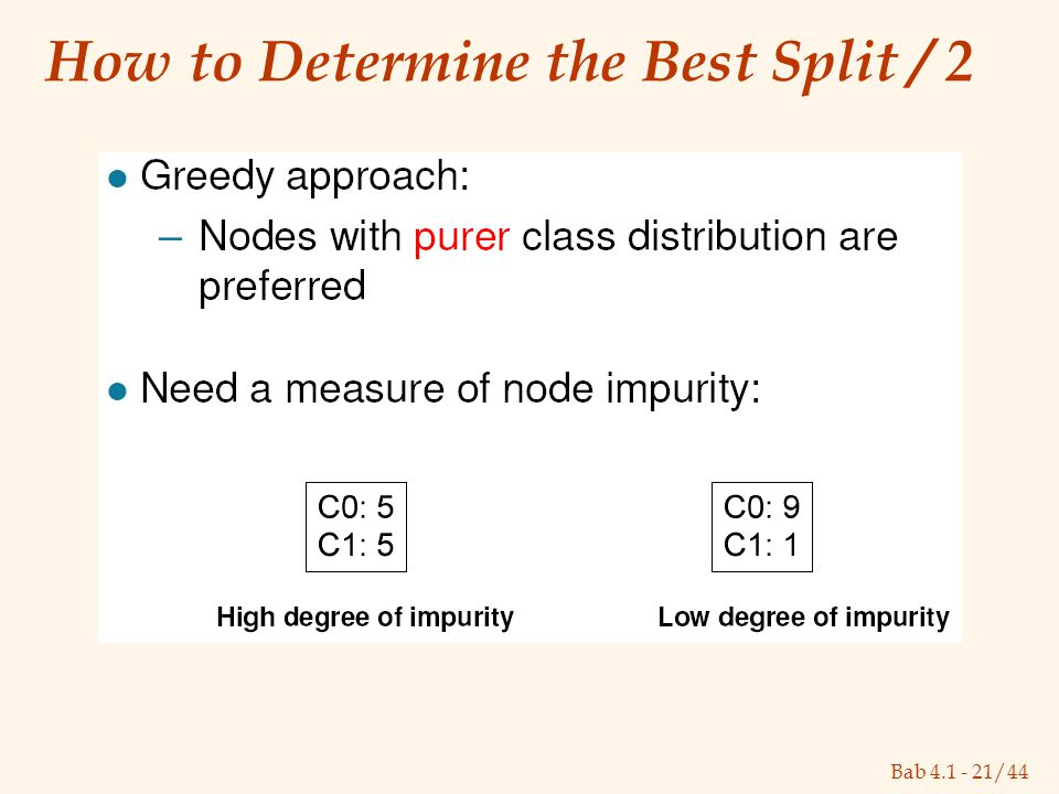 Bab 4.1 - 21/44 How to Determine the Best Split / 2