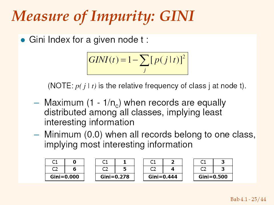 Bab 4.1 - 25/44 Measure of Impurity: GINI