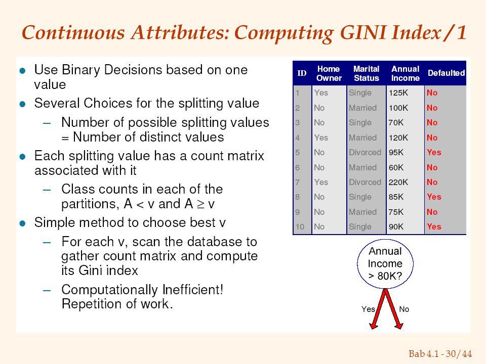 Bab 4.1 - 30/44 Continuous Attributes: Computing GINI Index / 1