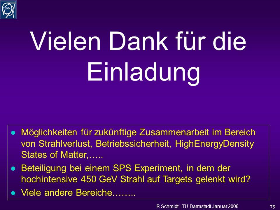 R.Schmidt - TU Darmstadt Januar 2008 79 Vielen Dank für die Einladung l Möglichkeiten für zukünftige Zusammenarbeit im Bereich von Strahlverlust, Betriebssicherheit, HighEnergyDensity States of Matter,…..