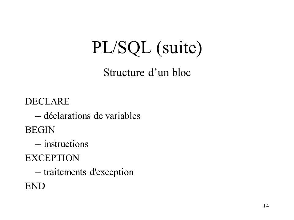 14 PL/SQL (suite) Structure d'un bloc DECLARE -- déclarations de variables BEGIN -- instructions EXCEPTION -- traitements d'exception END
