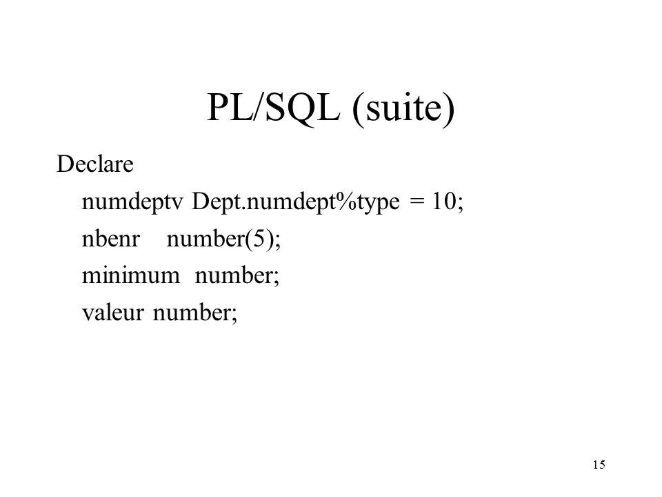 15 PL/SQL (suite) Declare numdeptv Dept.numdept%type = 10; nbenr number(5); minimum number; valeur number;