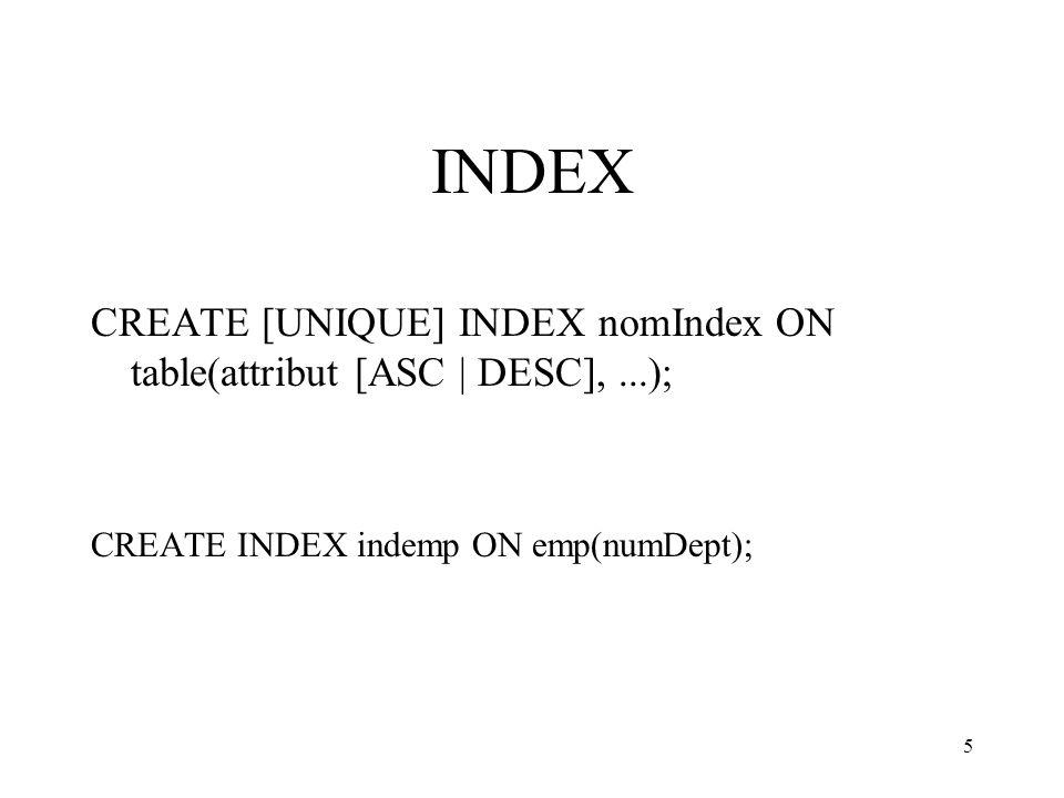 5 INDEX CREATE [UNIQUE] INDEX nomIndex ON table(attribut [ASC | DESC],...); CREATE INDEX indemp ON emp(numDept);