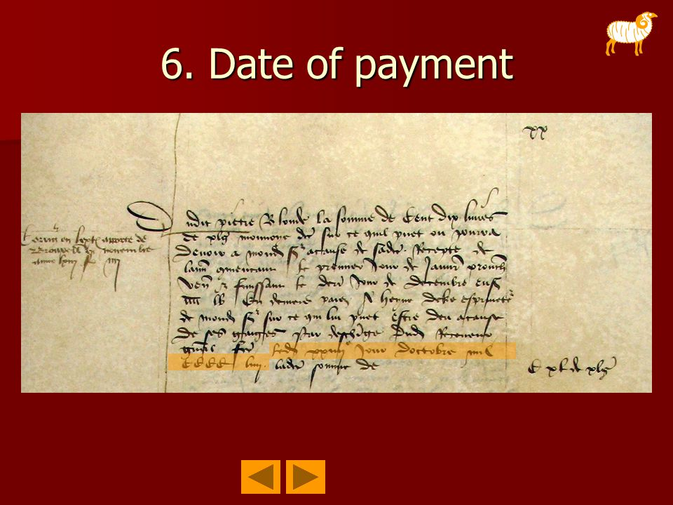 6. Date of payment