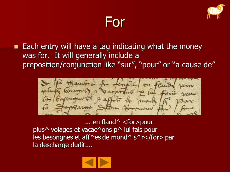 "For Each entry will have a tag indicating what the money was for. It will generally include a preposition/conjunction like ""sur"", ""pour"" or ""a cause d"