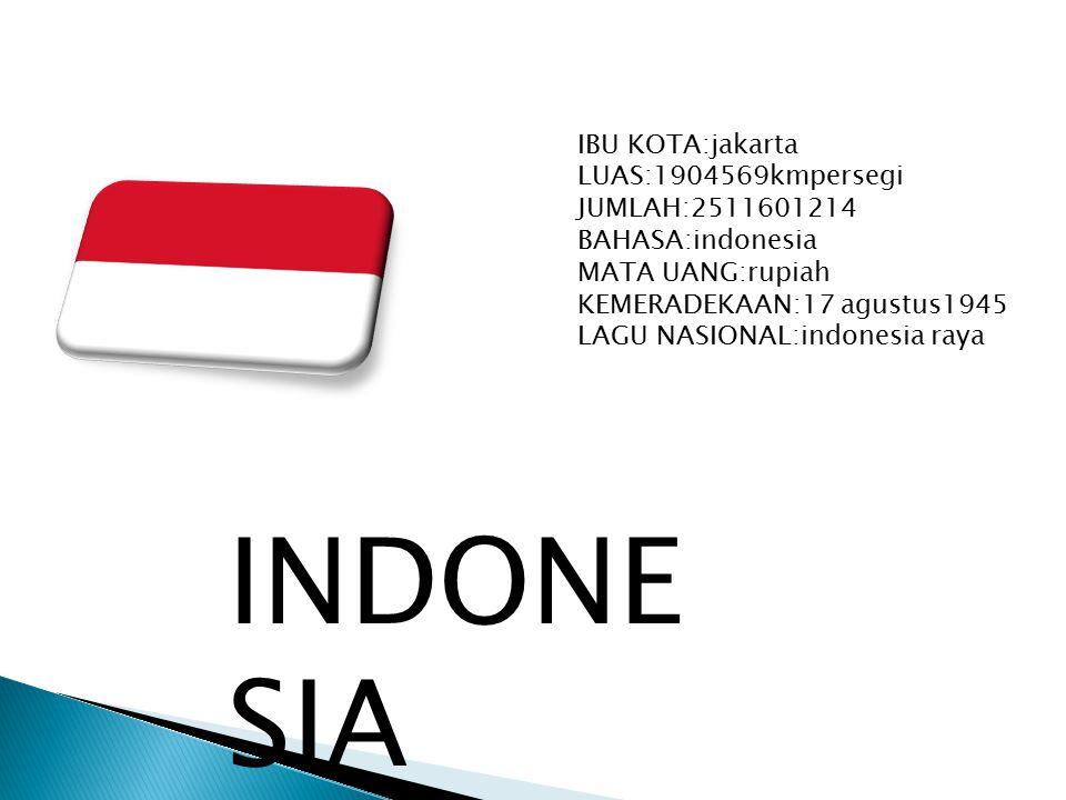 IBU KOTA:jakarta LUAS:1904569kmpersegi JUMLAH:2511601214 BAHASA:indonesia MATA UANG:rupiah KEMERADEKAAN:17 agustus1945 LAGU NASIONAL:indonesia raya INDONE SIA