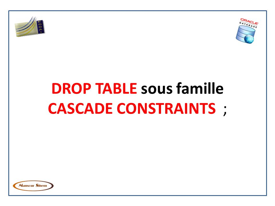 DROP TABLE sous famille CASCADE CONSTRAINTS ;
