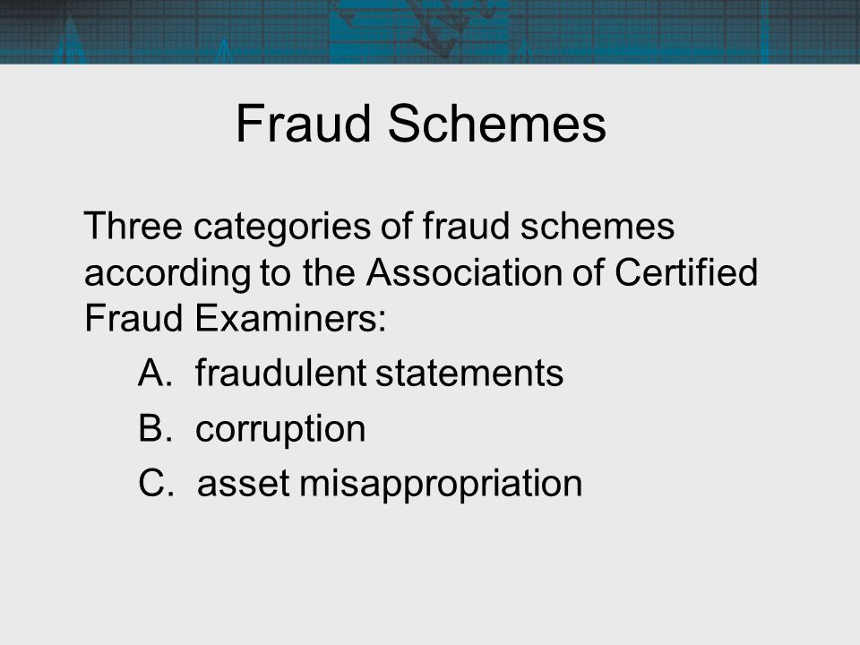 Fraud Schemes Three categories of fraud schemes according to the Association of Certified Fraud Examiners: A. fraudulent statements B. corruption C. a