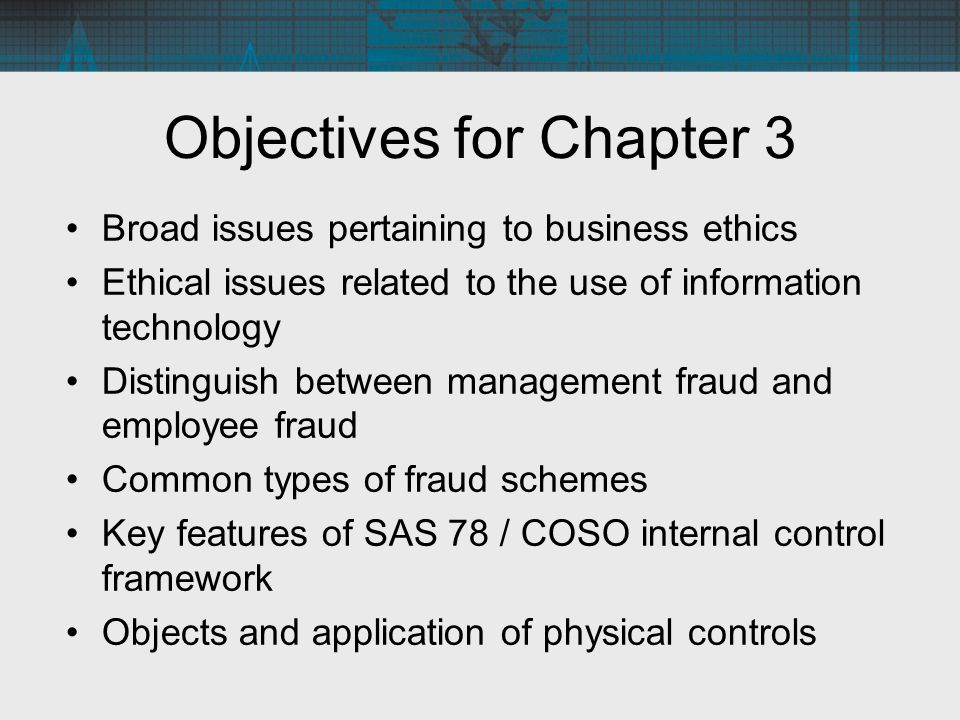 Objectives for Chapter 3 Broad issues pertaining to business ethics Ethical issues related to the use of information technology Distinguish between ma