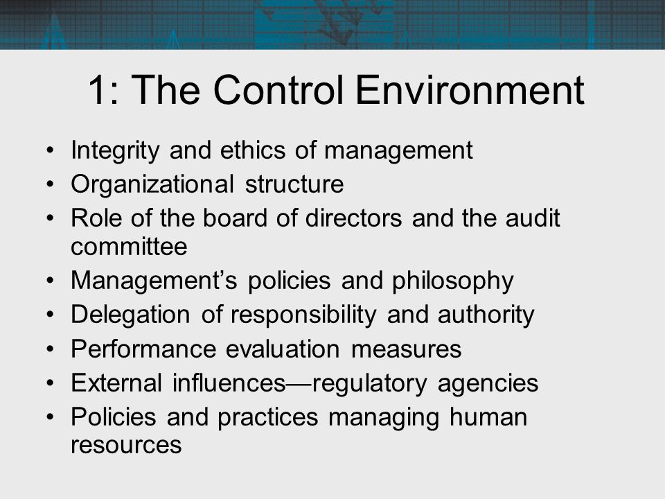 1: The Control Environment Integrity and ethics of management Organizational structure Role of the board of directors and the audit committee Manageme