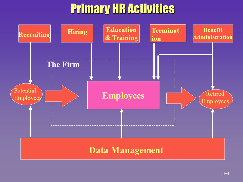 Recruiting Hiring Education & Training Terminat- ion Benefit Administration Potential Employees Retired Employees Data Management The Firm Primary HR Activities E-4