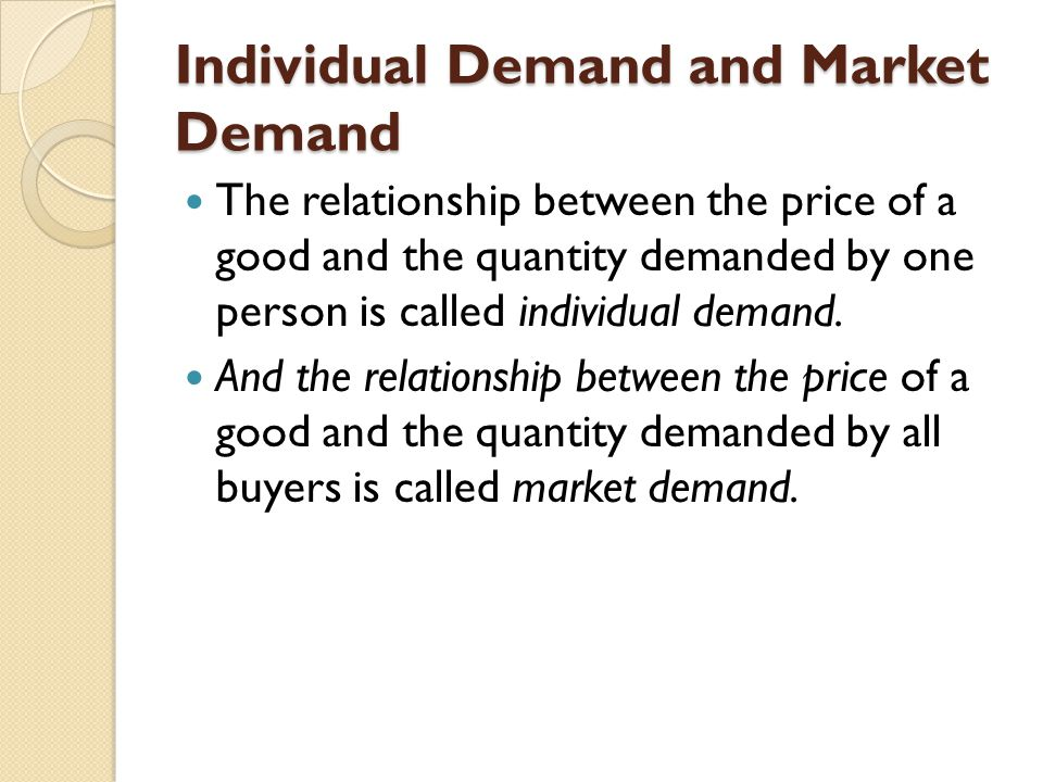 Individual Demand and Market Demand The relationship between the price of a good and the quantity demanded by one person is called individual demand.