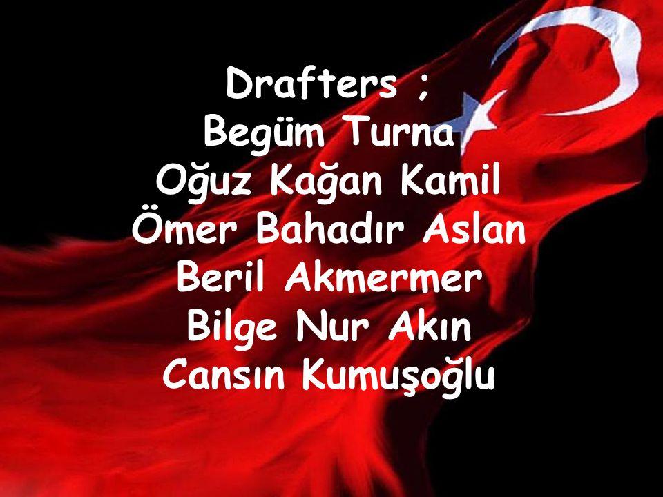 Drafters ; Begüm Turna Oğuz Kağan Kamil Ömer Bahadır Aslan Beril Akmermer Bilge Nur Akın Cansın Kumuşoğlu