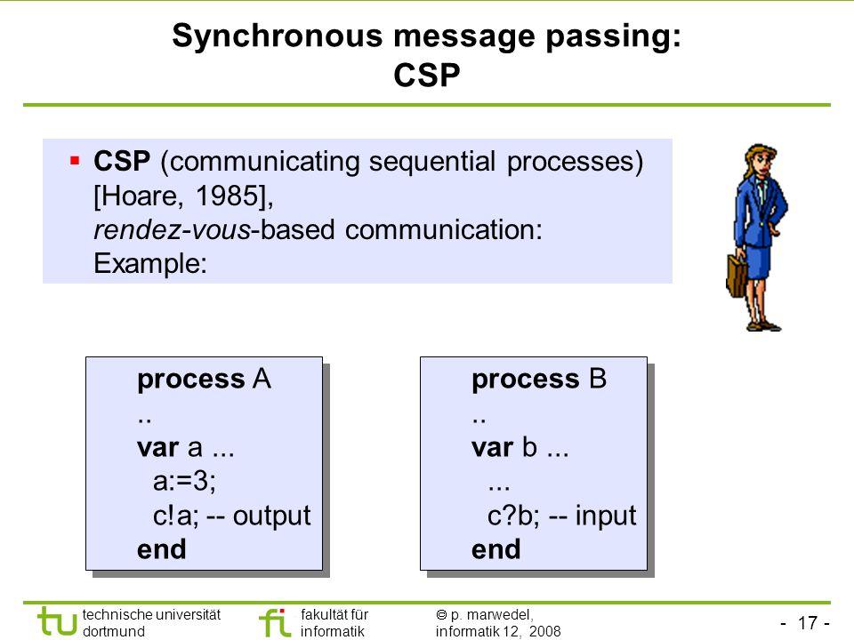 - 17 - technische universität dortmund fakultät für informatik  p. marwedel, informatik 12, 2008 Synchronous message passing: CSP  CSP (communicatin