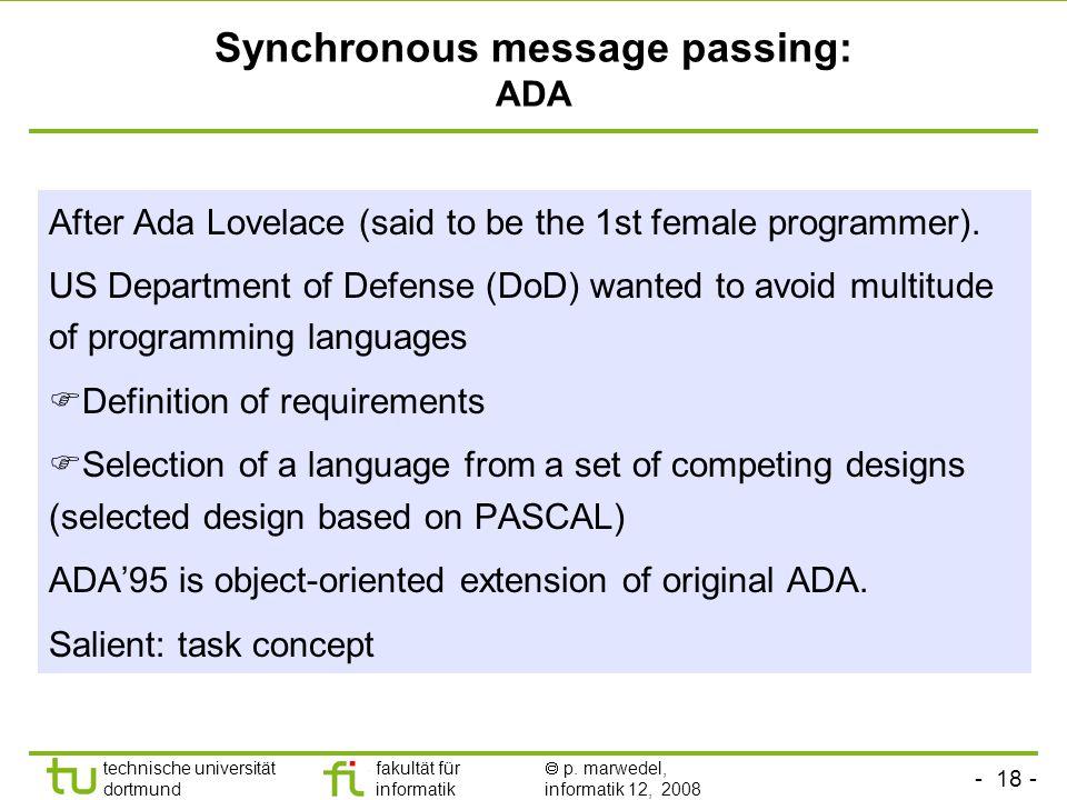 - 18 - technische universität dortmund fakultät für informatik  p. marwedel, informatik 12, 2008 Synchronous message passing: ADA After Ada Lovelace