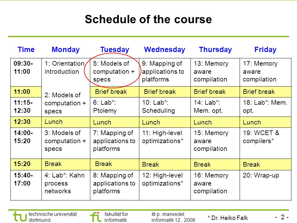 - 2 - technische universität dortmund fakultät für informatik  p. marwedel, informatik 12, 2008 Schedule of the course TimeMondayTuesdayWednesdayThur