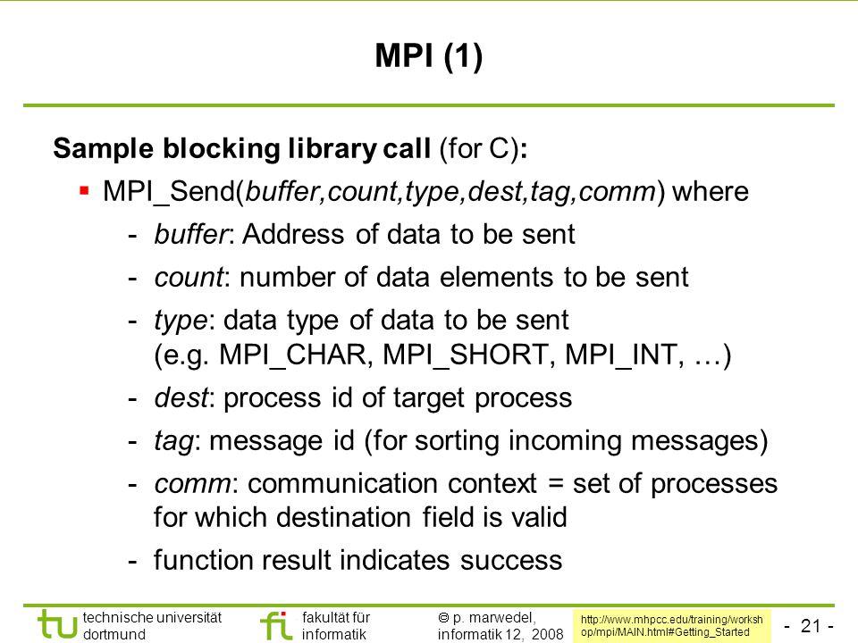 - 21 - technische universität dortmund fakultät für informatik  p. marwedel, informatik 12, 2008 MPI (1) Sample blocking library call (for C):  MPI_