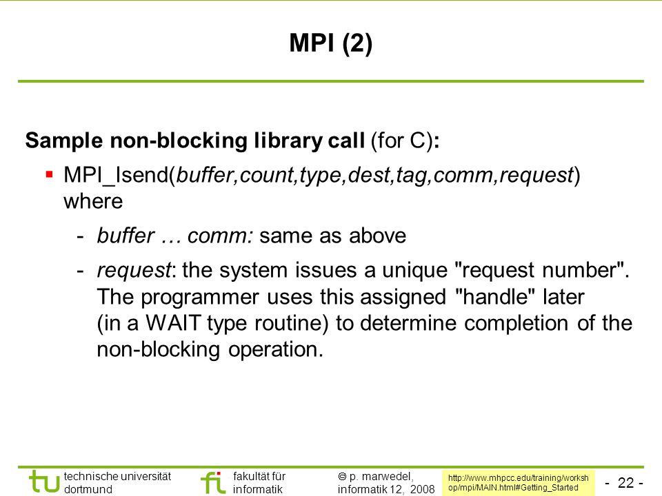 - 22 - technische universität dortmund fakultät für informatik  p. marwedel, informatik 12, 2008 MPI (2) Sample non-blocking library call (for C): 