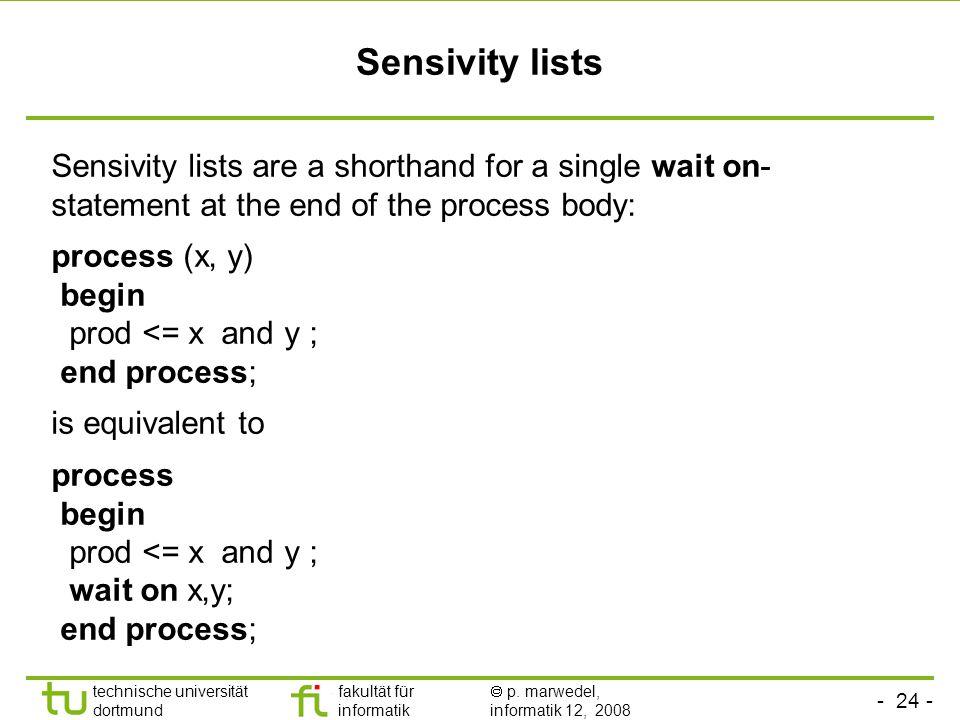 - 24 - technische universität dortmund fakultät für informatik  p. marwedel, informatik 12, 2008 Sensivity lists Sensivity lists are a shorthand for