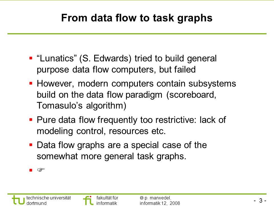 """- 3 - technische universität dortmund fakultät für informatik  p. marwedel, informatik 12, 2008 From data flow to task graphs  """"Lunatics"""" (S. Edward"""