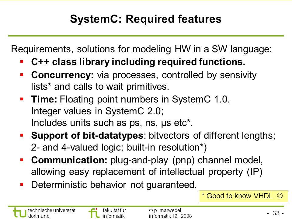 - 33 - technische universität dortmund fakultät für informatik  p. marwedel, informatik 12, 2008 SystemC: Required features Requirements, solutions f