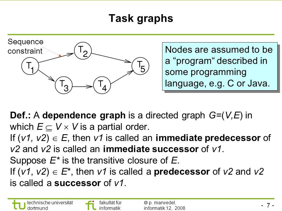 - 7 - technische universität dortmund fakultät für informatik  p. marwedel, informatik 12, 2008 Task graphs Def.: A dependence graph is a directed gr