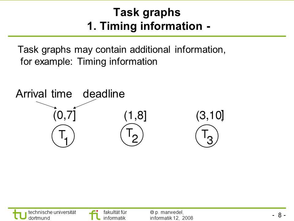 - 8 - technische universität dortmund fakultät für informatik  p. marwedel, informatik 12, 2008 Task graphs 1. Timing information - Task graphs may c