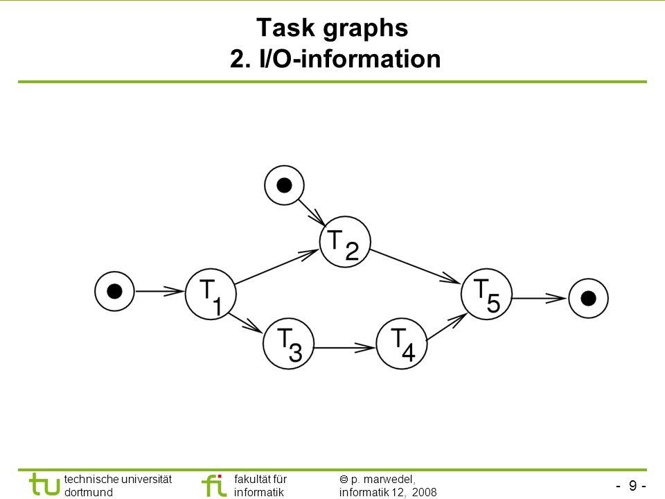- 9 - technische universität dortmund fakultät für informatik  p. marwedel, informatik 12, 2008 Task graphs 2. I/O-information
