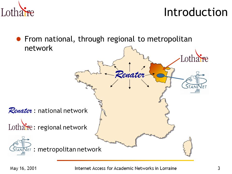 May 16, 2001Internet Access for Academic Networks in Lorraine3 Introduction From national, through regional to metropolitan network : national network : regional network : metropolitan network