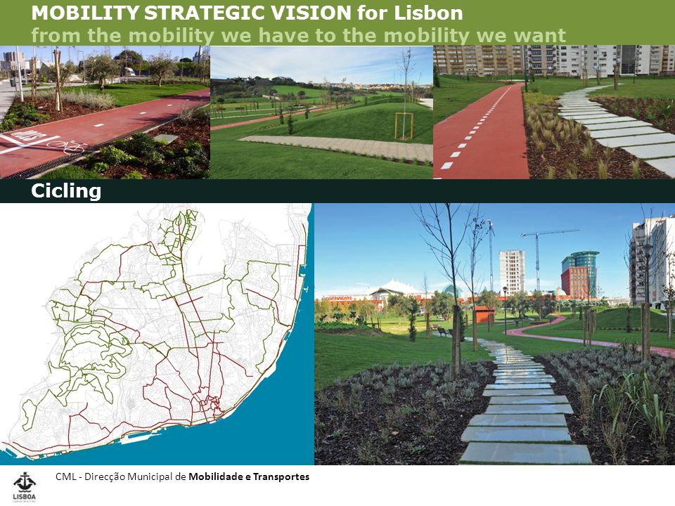 CML - Direcção Municipal de Mobilidade e Transportes VISÃO ESTRATÉGICA DA MOBILIDADE - VEM Lx MOBILITY STRATEGIC VISION for Lisbon from the mobility we have to the mobility we want Cicling