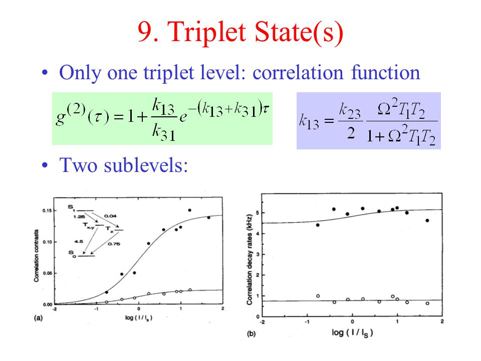 9. Triplet State(s) Only one triplet level: correlation function Two sublevels: